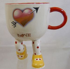 Artware Lustre Pottery Walking Ware Kneeling Cup - Valentine Special